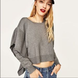 Zara Side Ruffle Grey Sweater Size M